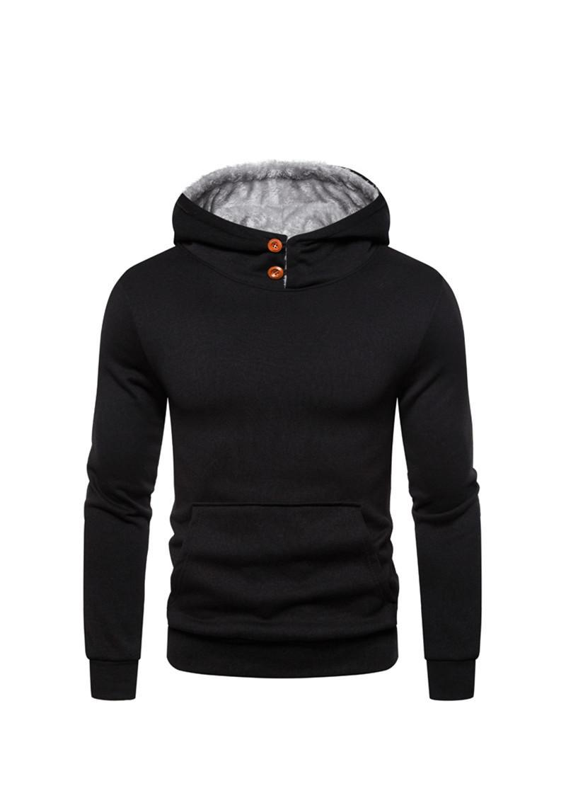 Sólido diseñador para hombre sudaderas con capucha en color Botón Casual Decoración bolsillo grande para hombre Moda Hoodies suéter hombres Ropa
