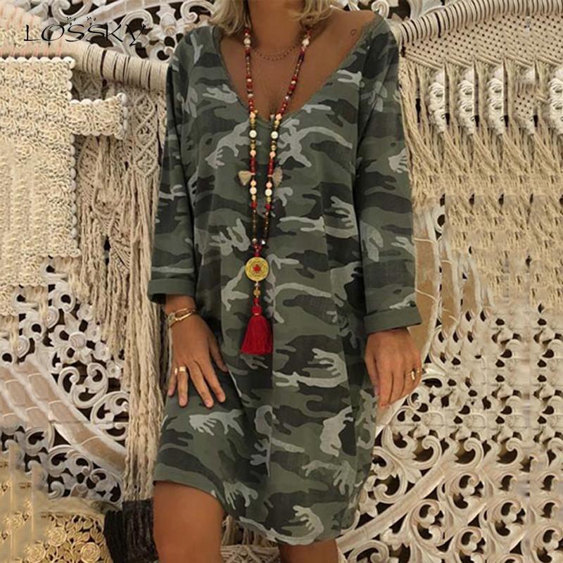 Lossky Elbise Kamuflaj Baskılı Uzun Kollu Bayan Giyim Gevşek Jumper Elbise 2019 Yeni Sonbahar Seksi V Yaka Günlük Bayan Modelleri