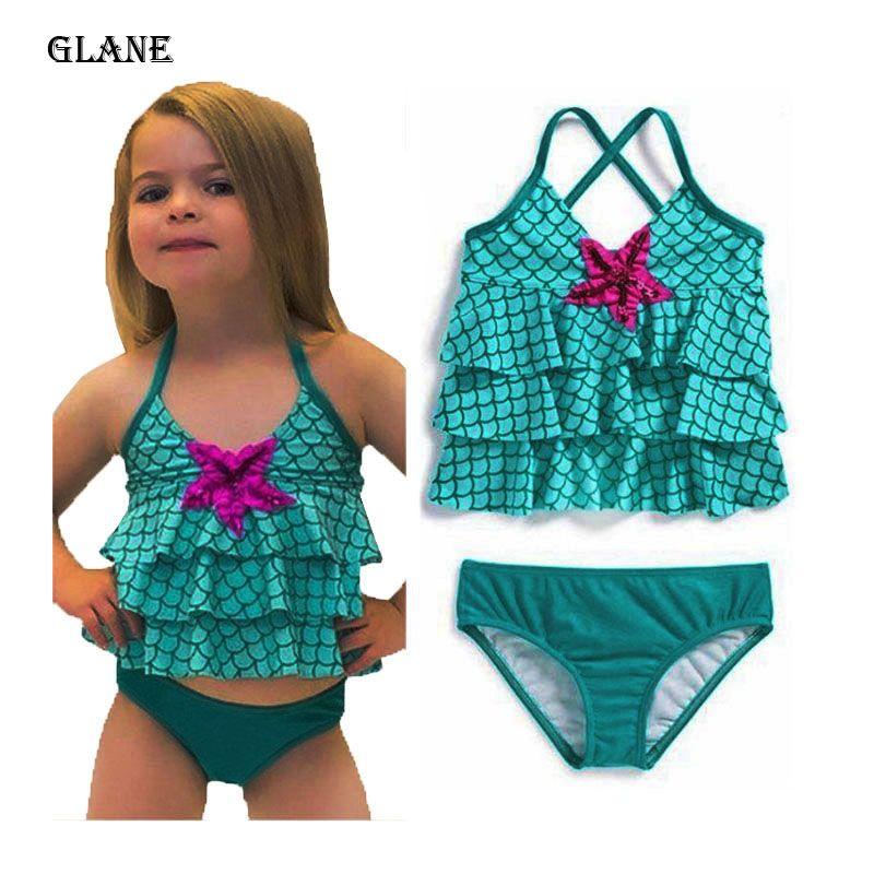2-7Y fille sirène couches Halter Maillots de bain Bébés filles Costume maillot de bain Bikini Maillots de bain à volants bain Costume Vêtements Nageur