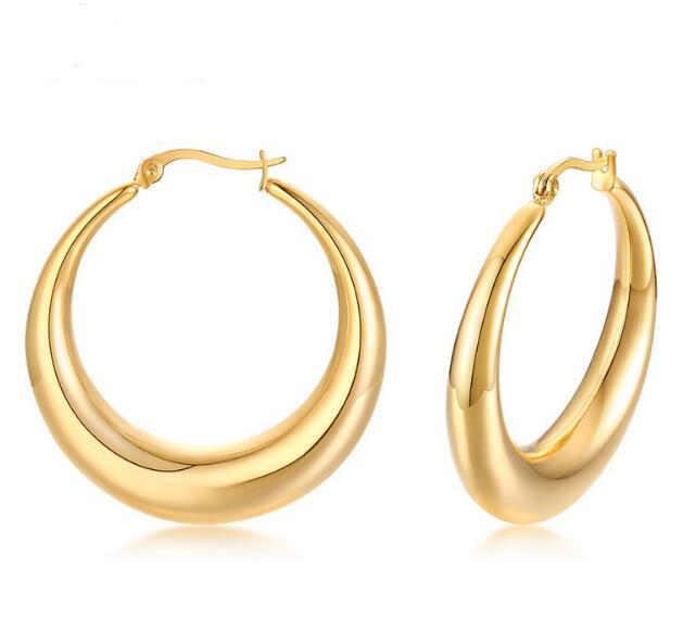 forma di vendita superiore Argento / Oro in acciaio inox lucido moda nuova rotonda di design semplice filo Orecchino ad anello donne squisiti doni ebreo