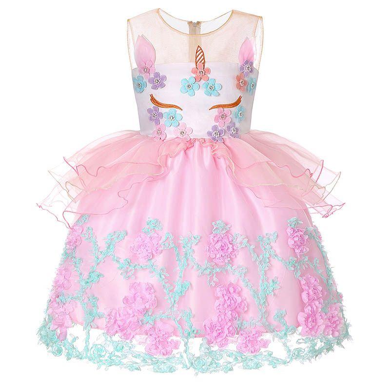 Compre Nuevo Estilo Vestido Unicornio Vestido Para Niños Vestido De Niña Cumpleaños Fiesta De Pascua Vestido De Falda Infantil Ropa A 1558 Del