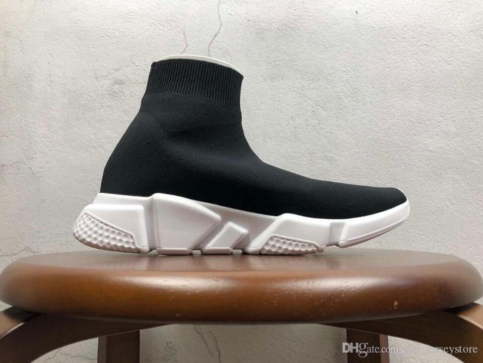 Big Size com caixa Designer Sock Luxo velocidade sapatos instrutor respirável Sneakers instrutor raça Corredores Sapatos pretos homens mulheres calçados esportivos 36-47