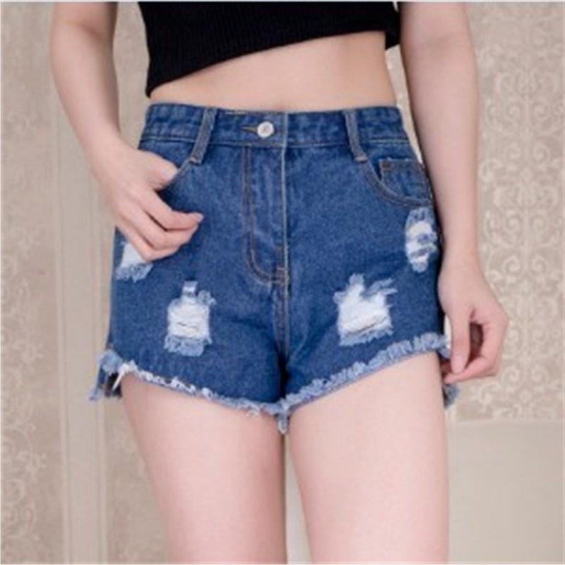 청바지 2019 여름 여성 의류 주머니 스트리트 스타일 청바지 반바지 플러스 사이즈 높은 waisted womens korean fashion pants ripped