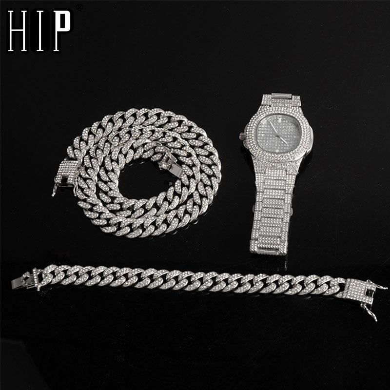 Hip plata + + reloj pulsera collar de cadena del encintado Miami Hop Cubano de Oro helado completo fuera pavimentado Rhinestones de la CZ Bling para hombres Joyería