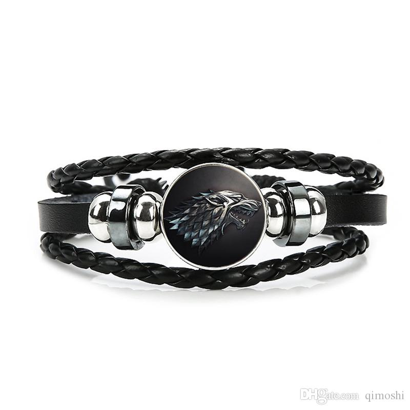 Punk alloy multi-layer braided rope right game bracelet leather cuff unisex bracelet