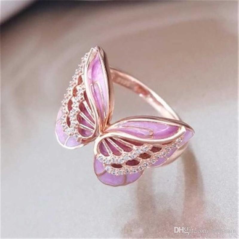 크리스탈 나비 반지 핑크 에나멜 동물 나비 반지 클러스터 반지 결혼 반지 선물 패션 보석 080490