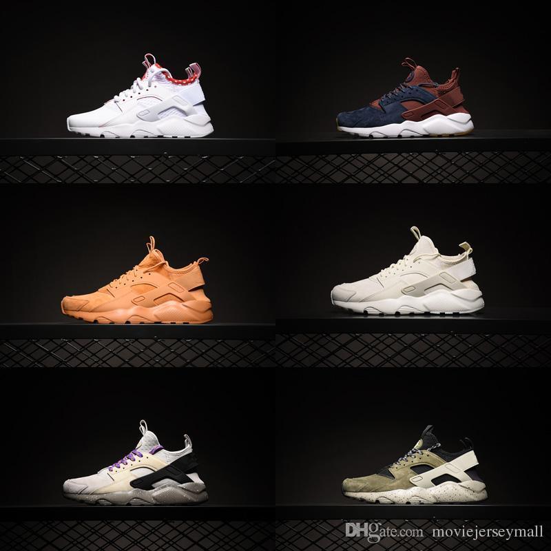 2019 Yeni Renkler Hava Huaraches Erkekler Kadınlar Huarache Ultra Nefes Mesh Yastık Sneakers Eur 36-45 için 4 IV gündelik ayakkabı
