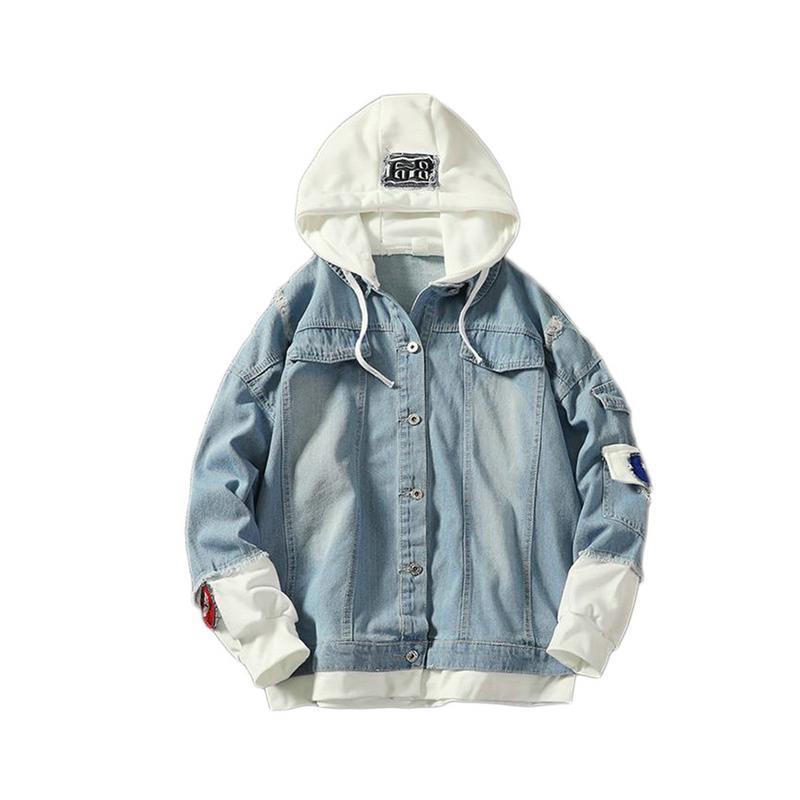 2020 куртка Мужчины Красивый Поддельный Двухсекционный джинсовой куртки Plus Удобрение Повседневная рубашка куртка корейской версии одежда мужчины