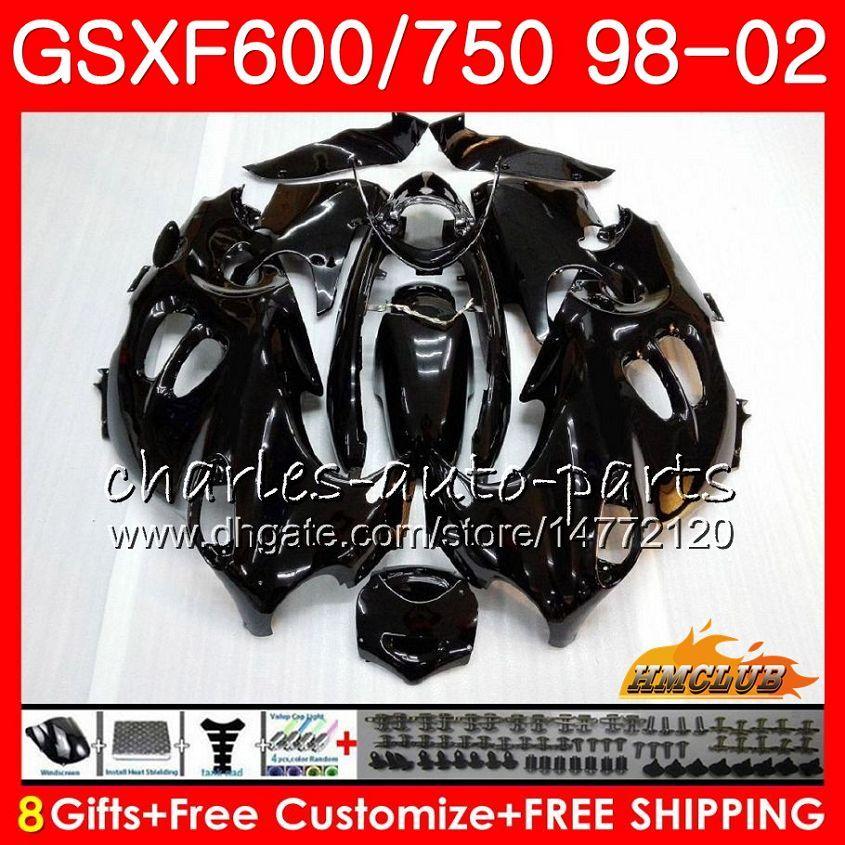 Cuerpo para Suzuki Katana GSXF 750 600 GSXF600 98 99 00 01 02 2HC.49 GSX750F GSX600F GSXF750 GLOSS BLACK 1998 1999 2000 2001 2002 Kit de carenización
