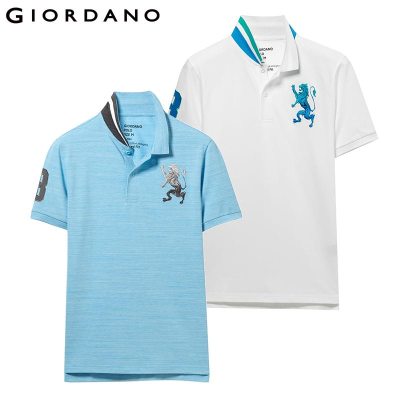 Giordano Men Polo Shirt 2-pack Embroidered Pattern Fashion Polo Men Stretchy Short Sleeve Polos Para Hombre Brand Summer Tops MX190711