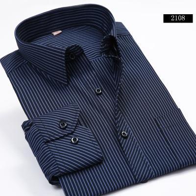 남성 디자이너 드레스 셔츠 큰 크기 38-44 남성 비즈니스 캐주얼 긴 소매 셔츠 클래식 스트라이프 남성 사회 드레스 셔츠 퍼플 블루