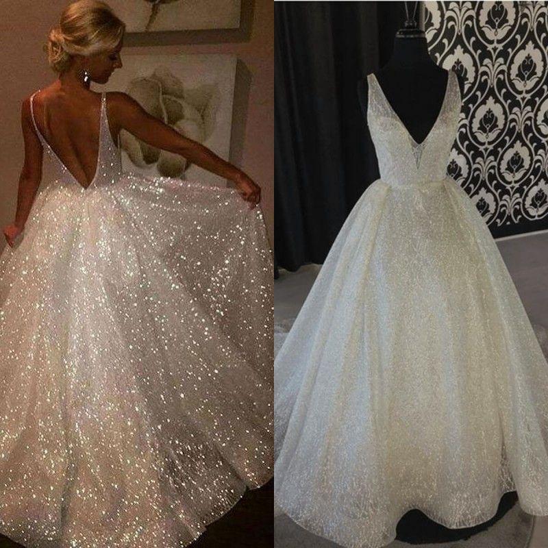 فاخر خط فساتين زفاف 2020 تصميم جديد V الرقبة تنورة مضيئة لامعة رائعة Pailettes نسيج vestidos دي noiva