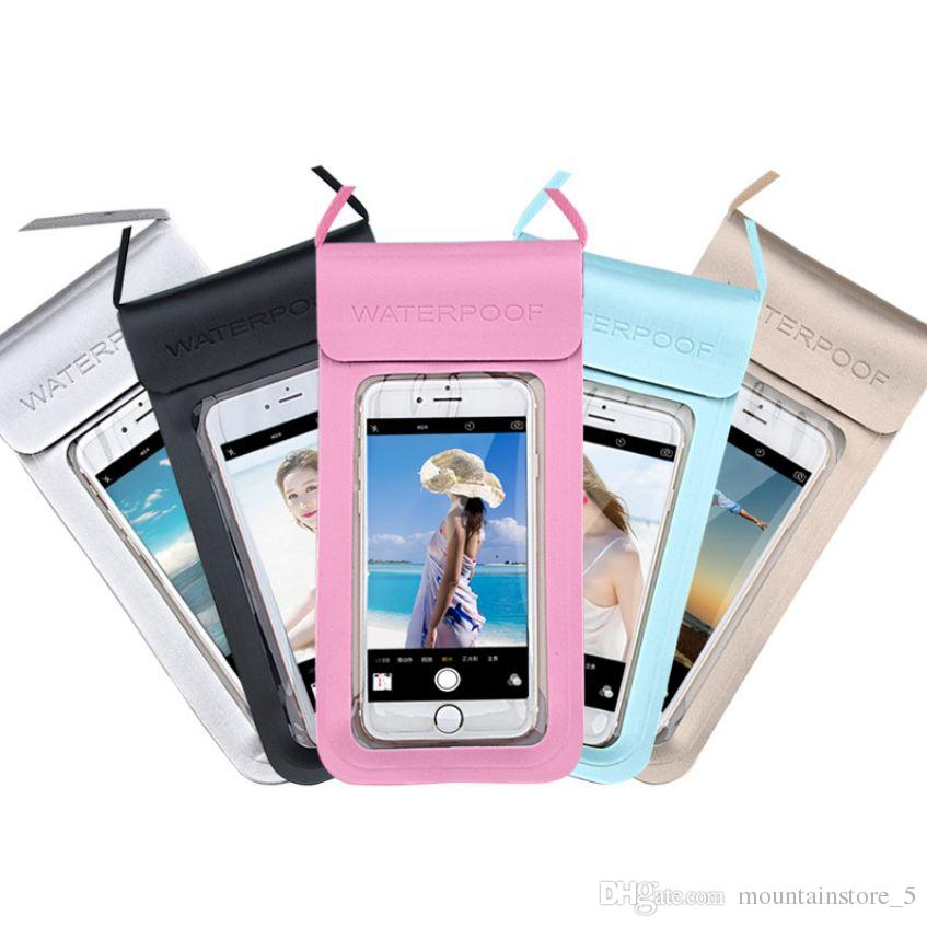 PU Waterproof Mobile Phone Case For iPhone X Xs Max Xr 8 7 Samsung S9 Clear PVC Sealed Underwater Cell Smart Phone Dry Pouch Cover