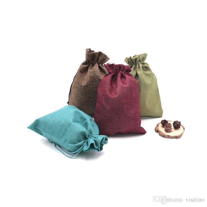 15pcs / lot الجوت الملونة 15 * 20cm الخيش الرباط أكياس الحلوى هدية صالح لحفل زفاف لصالح