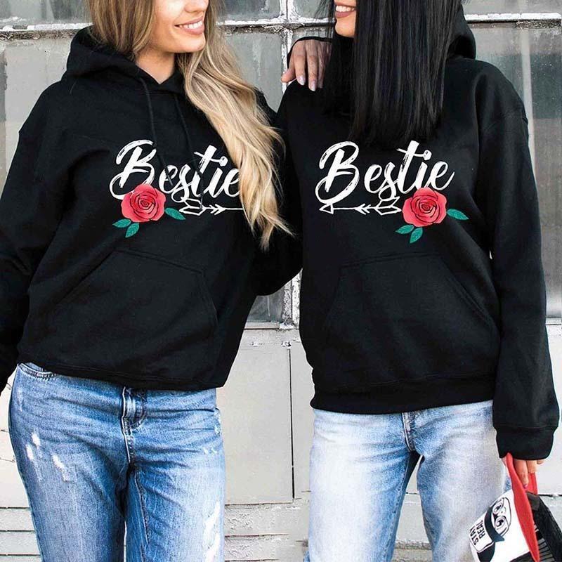 Alta Qualidade camisola Hoodies Bestie. Bestfriend Rose Impressão Pullover Hoodies