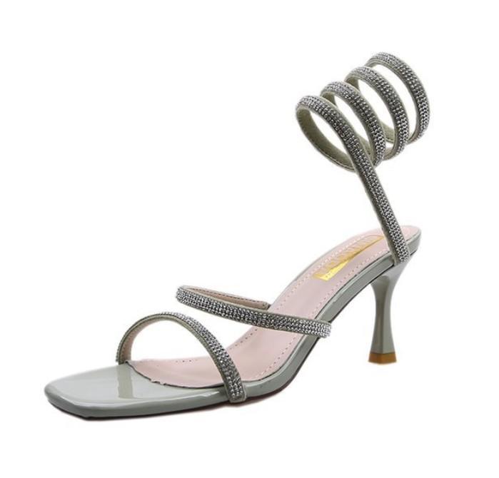 Designer Donna Sandali tacco a spillo Fibbia strass estate alti calza sexy del partito Sandali Femininas Moda Scarpe Avvolto romani