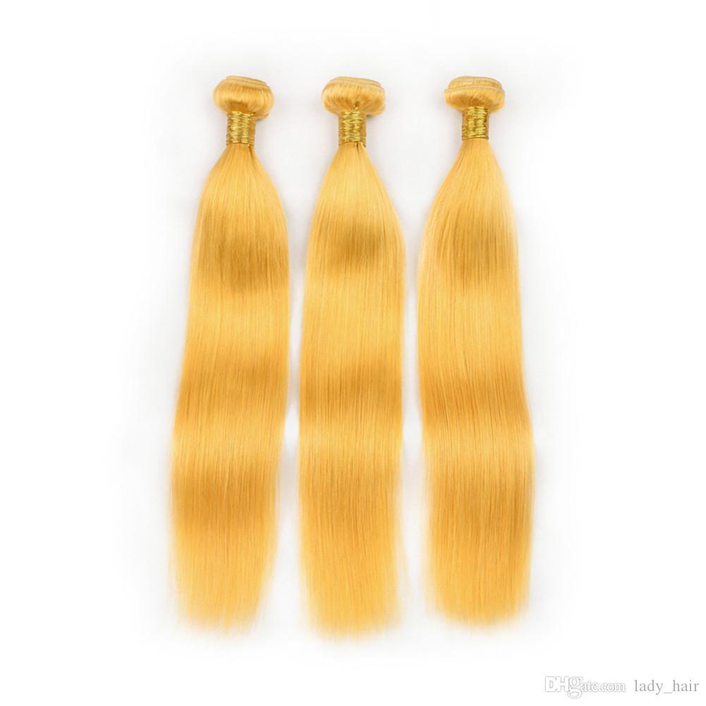 순수한 노란색 인간의 머리 Wefts 스트레이트 헤어 익스텐션 Yellow Color 인디언 버진 인간의 머리카락 번들 혼합 길이 엉킴 무료