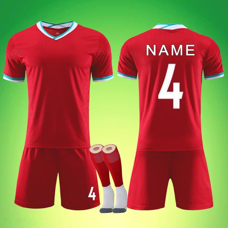 Conjunto en blanco del jersey de fútbol 2020-2021 costumbre de impresión, Salah Van Dyke Mane Adultos Niños entrenamiento de fútbol Uniforme survetement fútbol kit