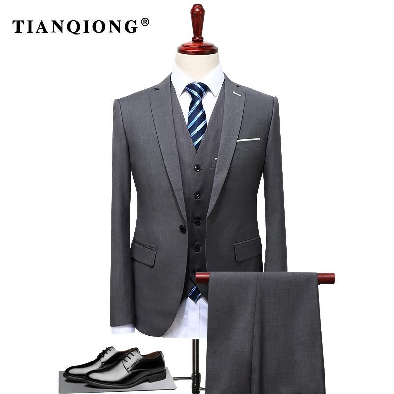 Tian Qiong 2017 Famous Brand Mens Suits Wedding Groom Plus Size 4xl 3 Pieces(jacket+vest+pant) Slim Fit Casual Tuxedo Suit Male Y190422