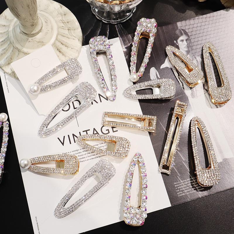 2019 Forcine per capelli in cristallo pieno Accessori per capelli per donna Clip di perle Capelli coreani Ragazze Clip dolci Barrette