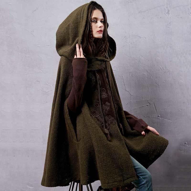 ARTKA Women's Winter New Vintage Warm Woolen Hoodie Cloak Coat Embroidered Drop-Shoulder Sleeve Wool Cape Outerwear WA10220D T200110