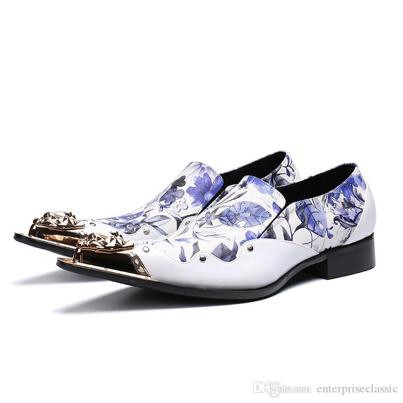 Zapatos de hombre de lujo con punta de hierro en punta Zapatos de vestir de cuero formal Hombres Fiesta blanca y Zapatos de hombre de boda Zapatos Hombre, 46