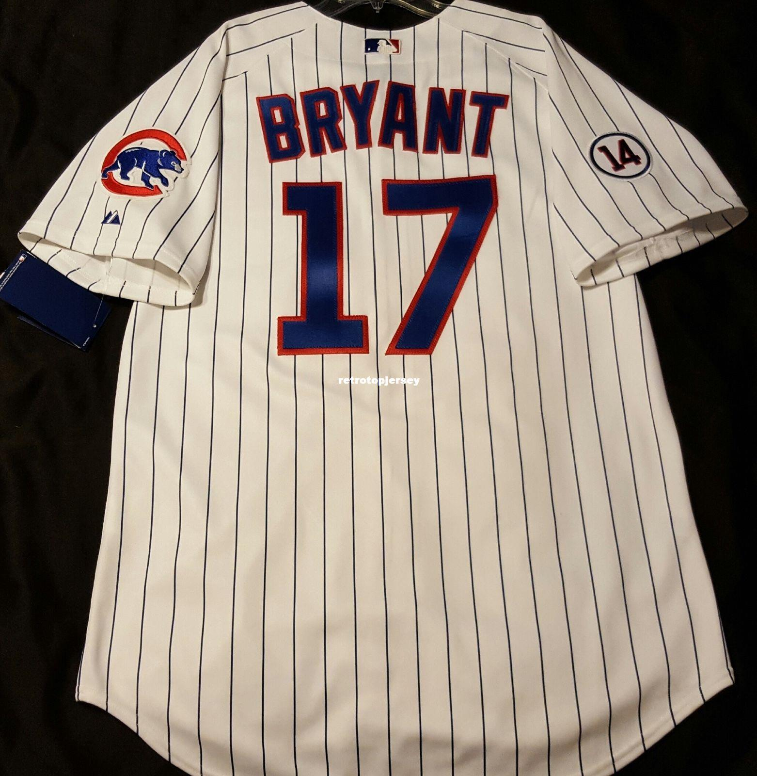 Pas cher! Majestic CHICAGO # 17 PINSTRIPE, BRYANT SUR LE TERRAIN Jersey Hommes Cousus En Gros Grand Et Grand Taille XS-6XL maillots de baseball