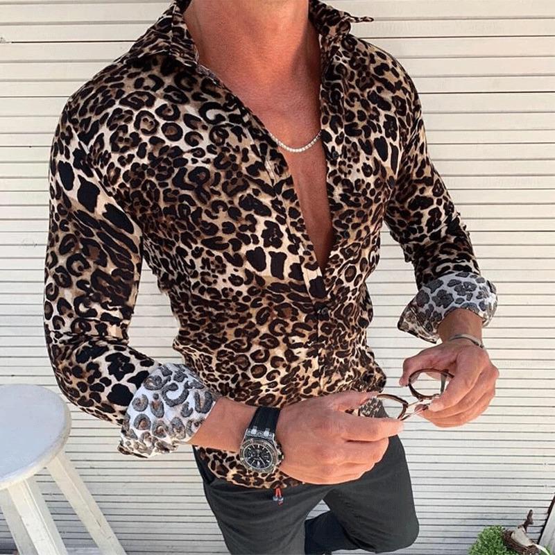 Hirigin manera de la camisa de manga larga para hombre del estampado leopardo de manga larga Casual Slim Fit vestido con estilo Tops