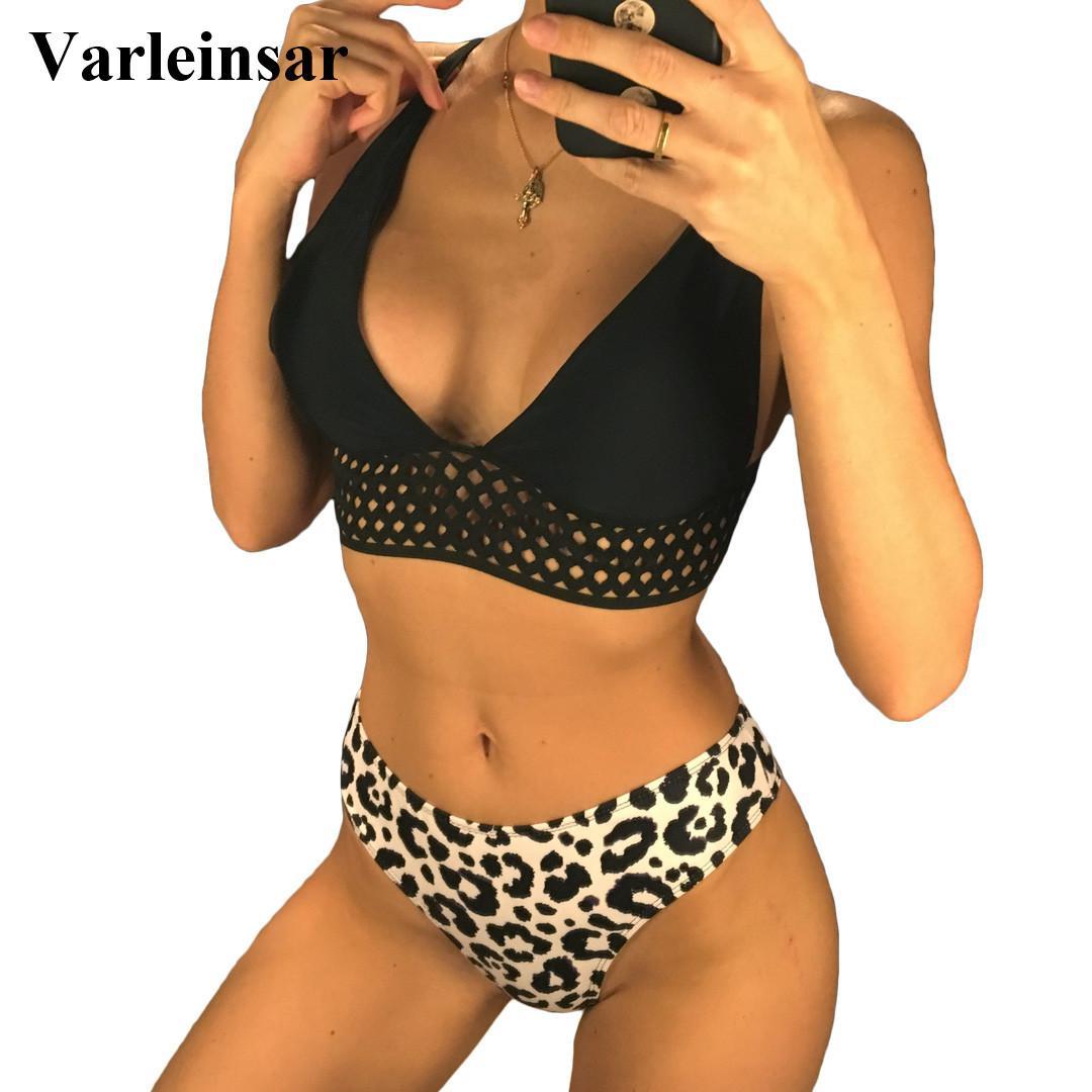 2019 Femmes Nouveau Sexy Leopard bikini maillot de bain Femme Deux pièces Ensemble bikini taille moyenne Baigneuse de bain Maillot de bain Lady V1072 LY191224