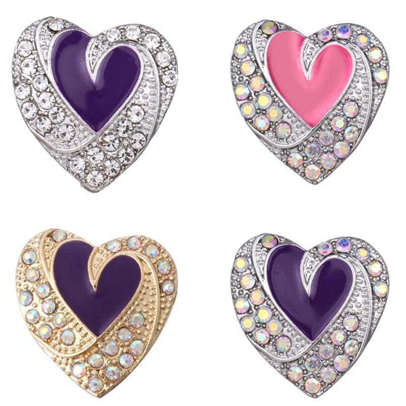 New Silver 18mm Snap Button Jewelry Full Rhinestone Love heart 18mm Snap Jewelry Fit Rose Gold Bracelet Necklace