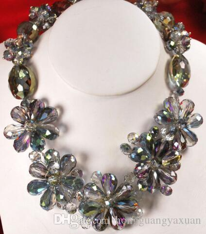 """Graceful! Rainbow Crystal Flower Pendant Huge Silver Toggle Necklace 18"""""""