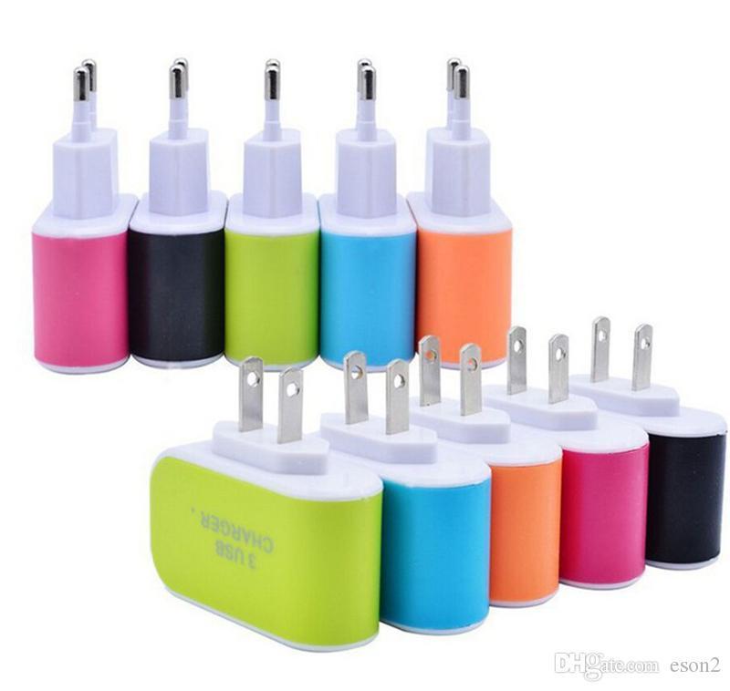 US EU Plug 3 USB LED Wall carregadores 5V 3.1A Adaptador de viagem conveniente Power Adapter com portas USB triplos carregador de parede Para Xiaomi Samsung