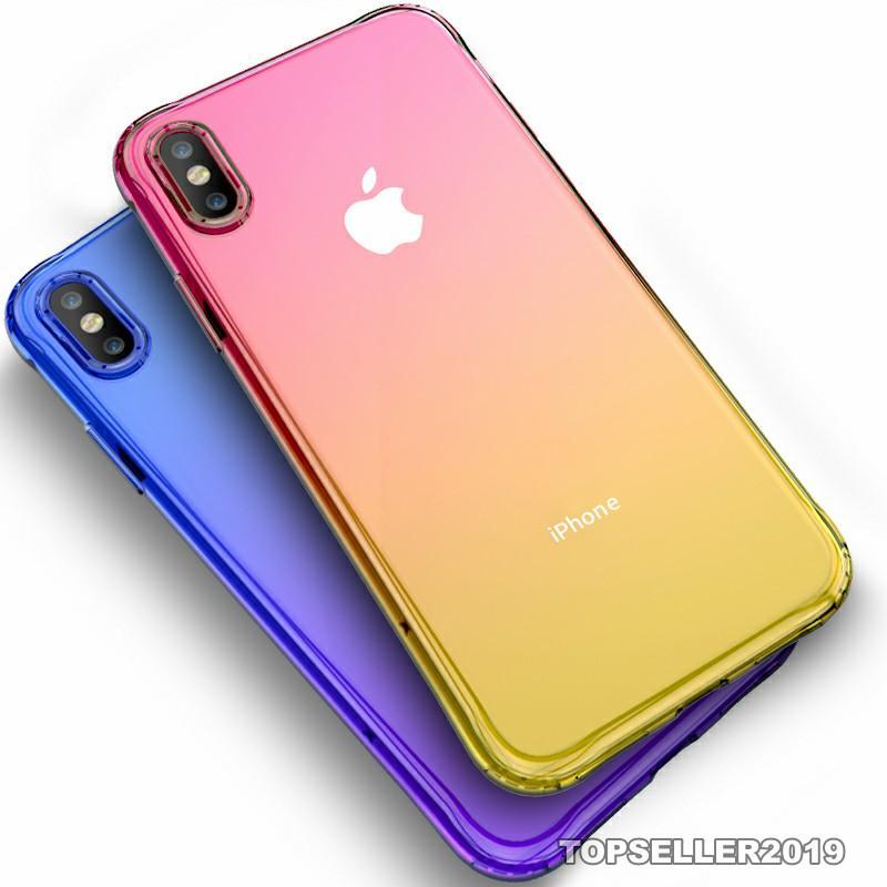 Couleurs Gradient Anti Airbag choc fonctionEffacer Cas pour IPhone XR XS MAX 8 7Plus 6S TPU couverture arrière 5 couleurs 100pcs par lot C001