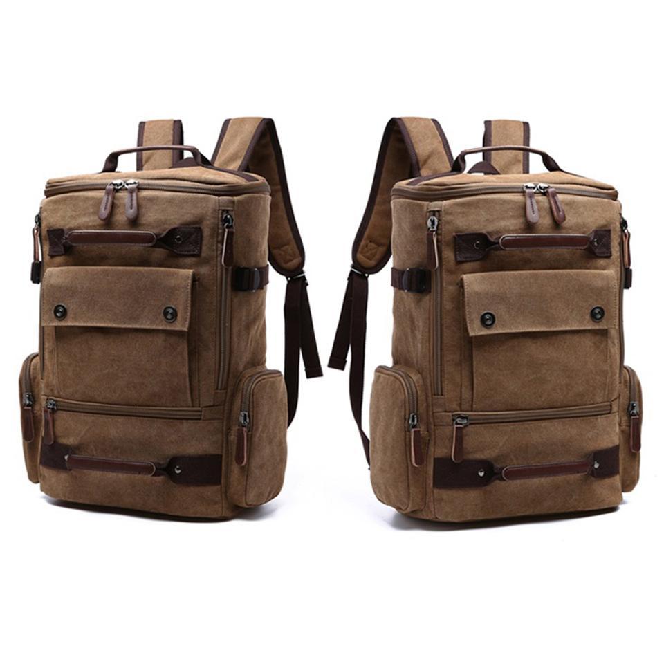 Homens Mochila 15,6 '' 17 '' Laptop Mochila Canvas mochilas de viagem ao ar livre de grande capacidade de bagagem Bagpack Masculino Bolsa Escola PackMX190905