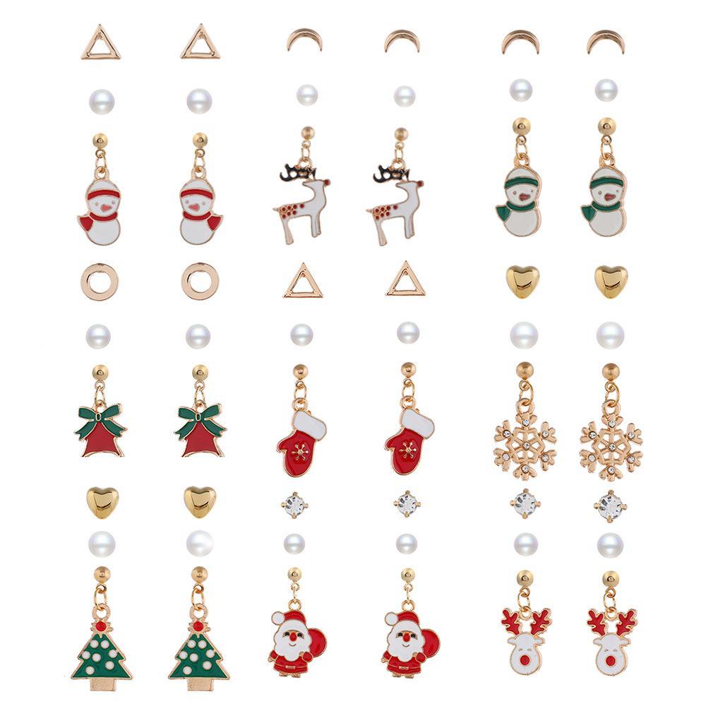 Árbol triángulo de la perla de Navidad de Santa Claus Stud Set muñeco de nieve de los ciervos de Bell La Navidad Bell guantes del oído del perno prisionero de la joyería de Navidad Regalos para Mujeres Niñas