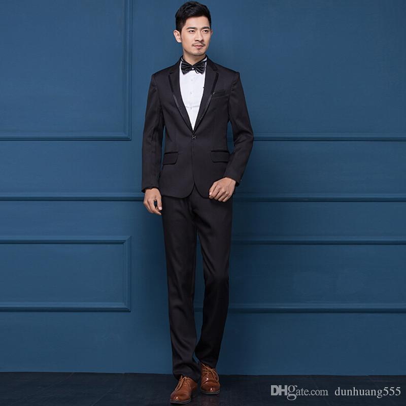 2019 fashion Two-piece mens formal suits one button black mens wedding suits tuxedos groom/groomsman suits (jacket+pants)