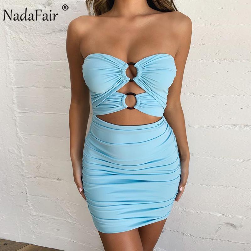 Nadafair weg Schulter Bodycon Sommer-Kleid-Frauen mit Rüschen besetzt aushöhlen Backless Verein-Partei-reizvoller Kleid-Minischlauch-Verband-Kleid Y200101
