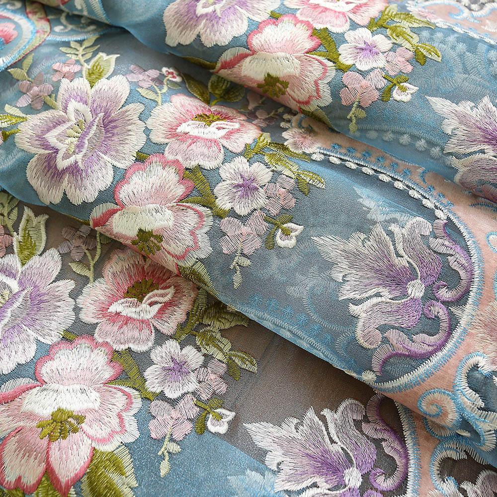 Кашемир-как синель европейский стиль вышитые занавески ткань на заказ полусветные занавески законченные