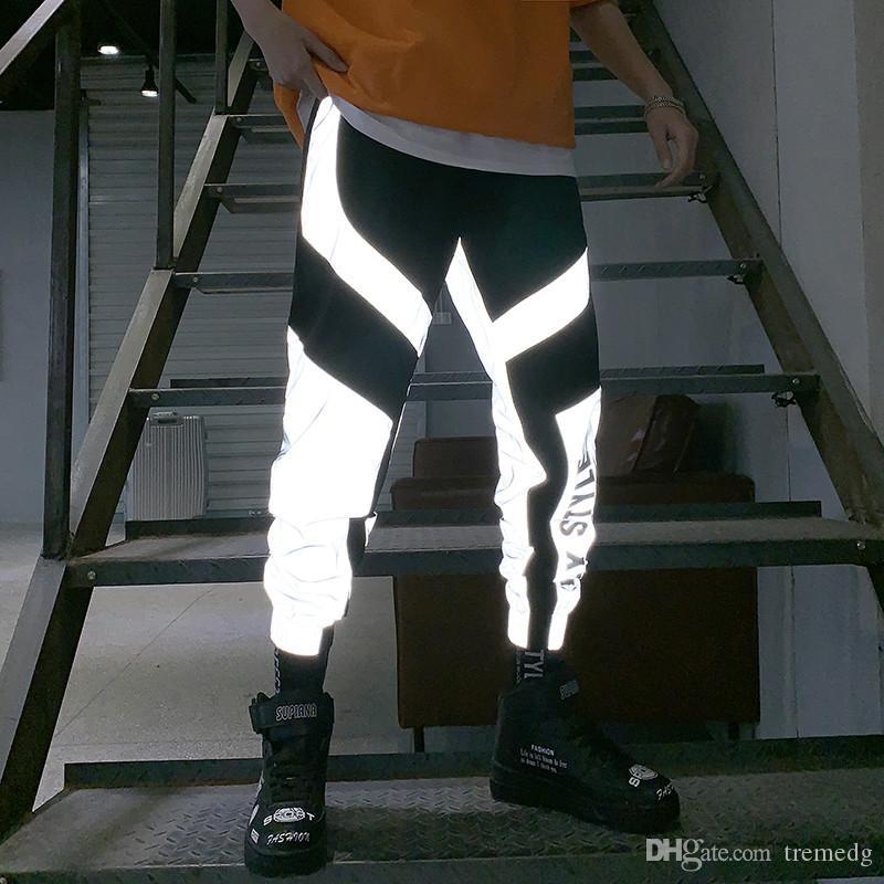 Men Cargo Pants 2019 New Summer Men Women Sweatpant Flash Reflective Pants Joggers Hip Hop Dance Show Party Night Jogger Baggy Trousers