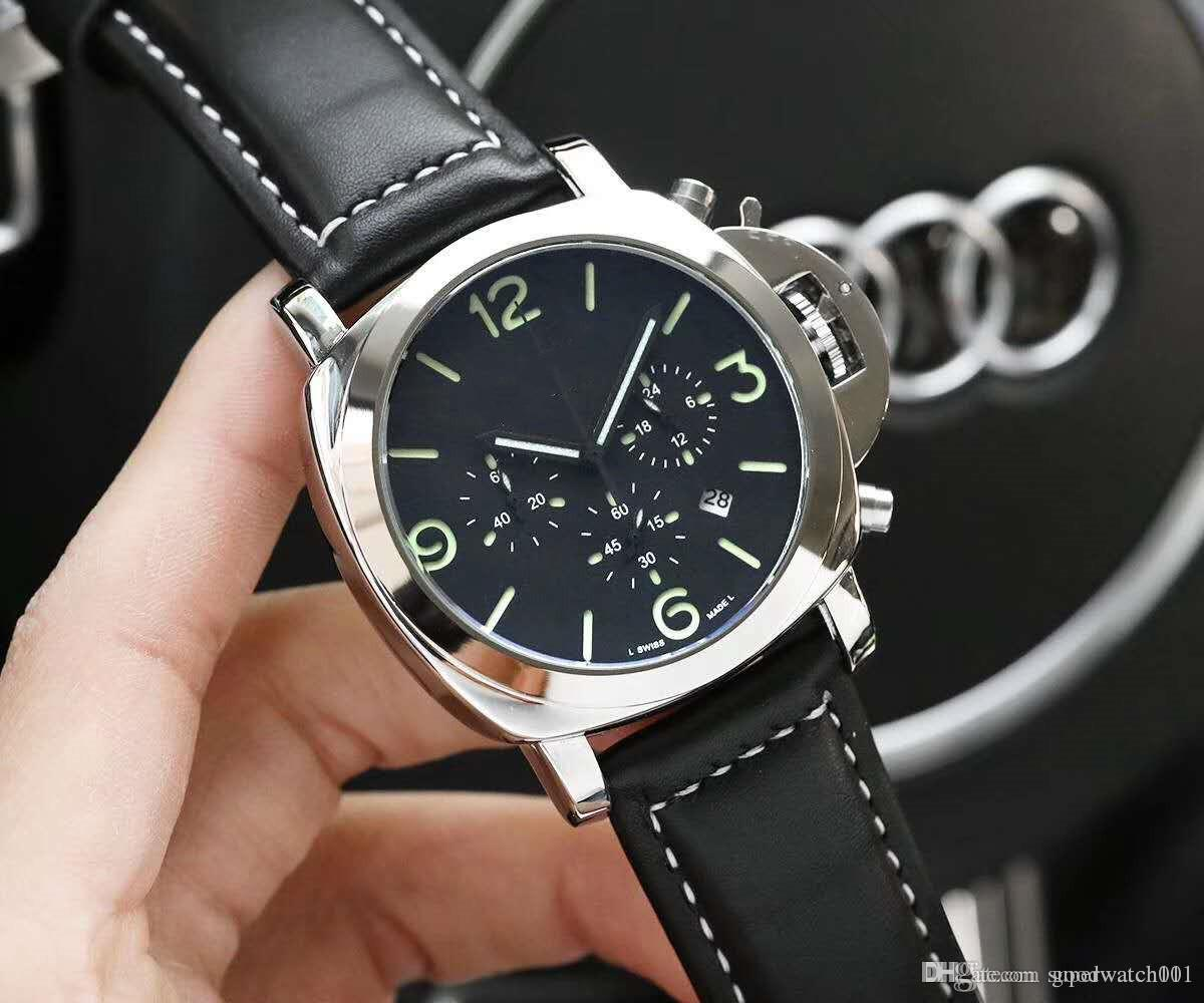 2019 new luxury men's quartz timing running seconds watch. 45mm dial. With leather straps luminous display function men's watch sp