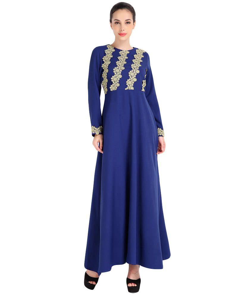 Fashion Women Muslim Dress Embroidery Long Sleeve Abaya Kaftan Islamic Arab Robe Maxi Dress Black/Coffee/Blue G9096BL-XL