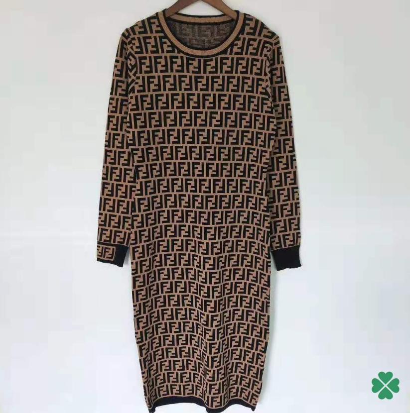 Spring Designer Women Casual Dress FF Letter Brand Sweater Dress Shirts Long Sleeve Jumpers Letter Knitting Slim Fit Party Dress 20040106L