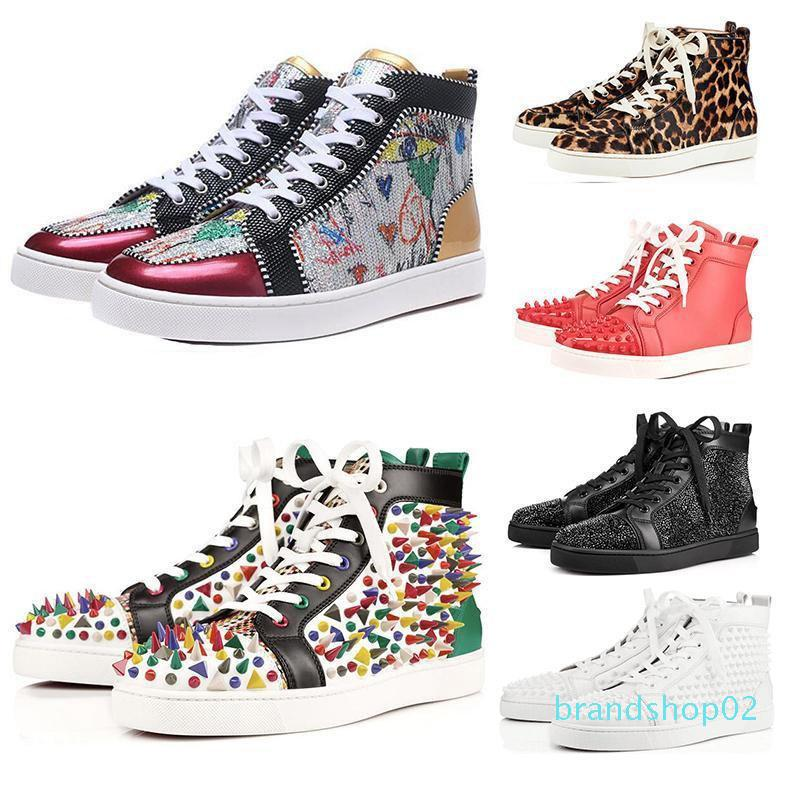 Top qualité ACE Marque Designer Red Bottom clouté Spikes Flats Chaussures Hommes Femmes Mode High Cut Party Lovers Multicolor Chaussures Casual