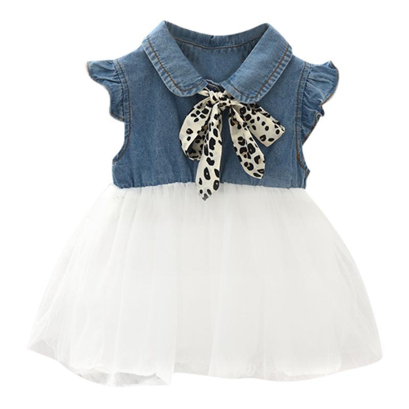 Vestido de verão crianças Bebés Meninas Leopard Bow Denim vestido de tule princesa Outfits roupas Princesa Traje Casual Vestidos para meninas
