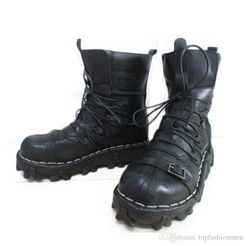 큰 크기 2019 발목 육군 부츠 남자 높은 군사 전투 부츠 금속 버클 펑크 남자 오토바이 부츠 레이스 업 남자 신발 락