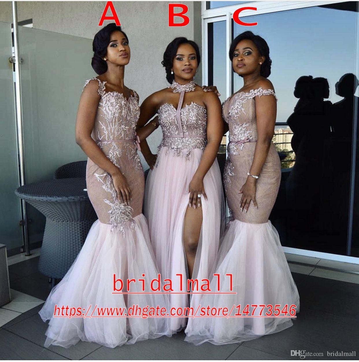 Nuevo 2019 Vestidos de dama de honor africanos Apliques largos de estilo mixto Vestido de fiesta de sirena con hombros descubiertos Vestidos de dama de honor de lado dividido Ropa de noche