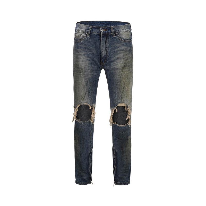 New Slim Fit Men's Jeans Knee Hole Design Zipper High Street Style Men Denim Pants HipHop Jeans Streewear Male Trousers Clothing