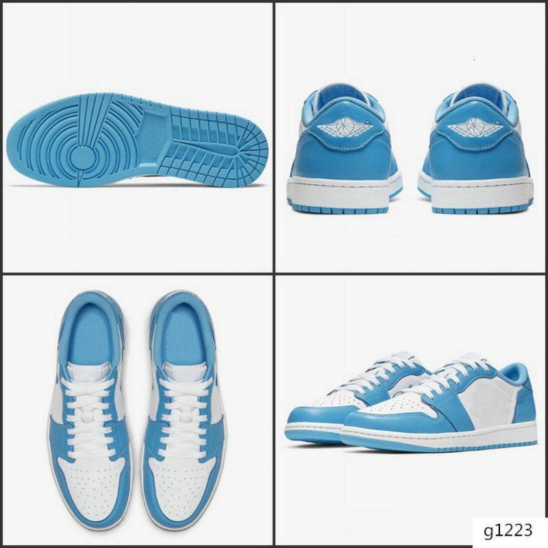 2019 Baloncesto 1 x SB Dunk Low Pro OG QS Skateboard zapatos de diseño Azul Blanco UNC Moda Sport zapatillas de deporte de los calzados informales