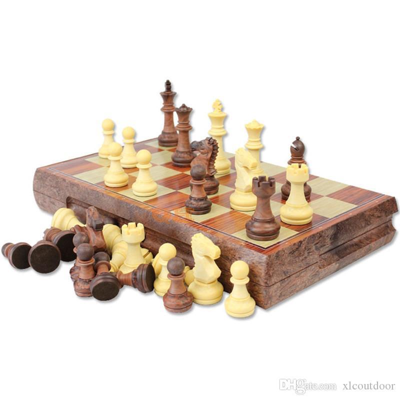 국제 체스 체커 접이식 자기 고급 목재 WPC 곡물 보드 체스 게임 영어 버전 (M / L / XLSize)