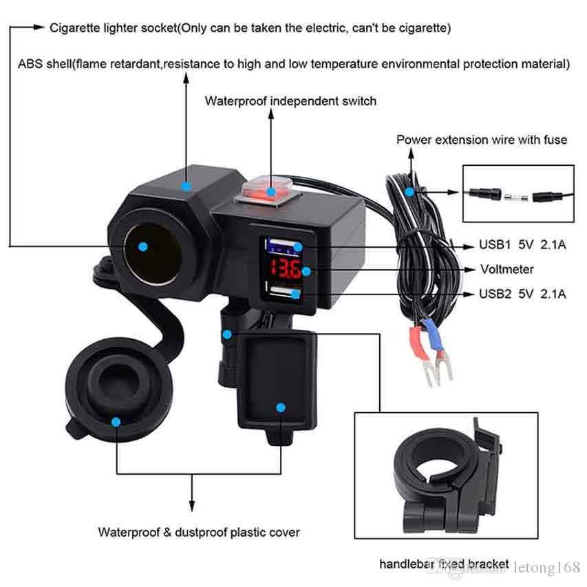 5V / 2.1A USB Soket ile Çakmak Su geçirmez 12V Motosiklet Motosiklet Gidon Sigara Güç Adaptörü Şarj